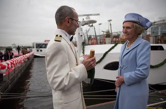 Mary Berry christening Viking Cruises