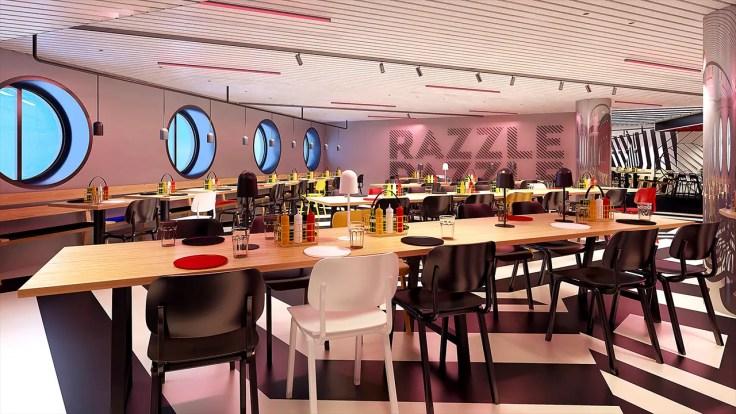 Razzle dazzle Scarlet Lady restaurants