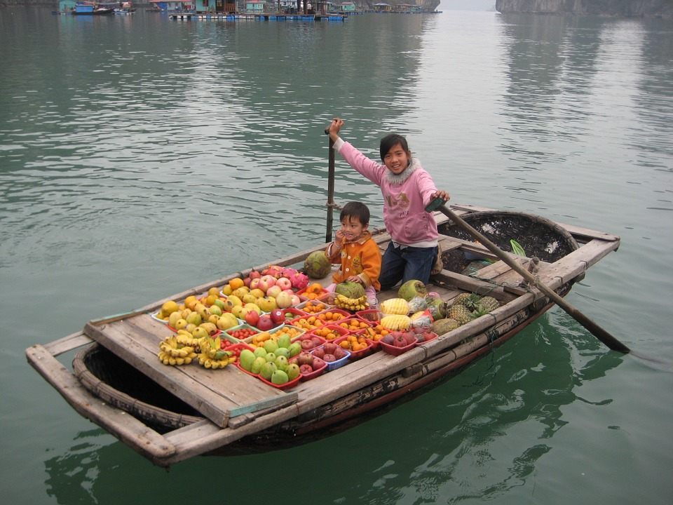 One of the floating 'shops' in Halong Bay, Vietnam
