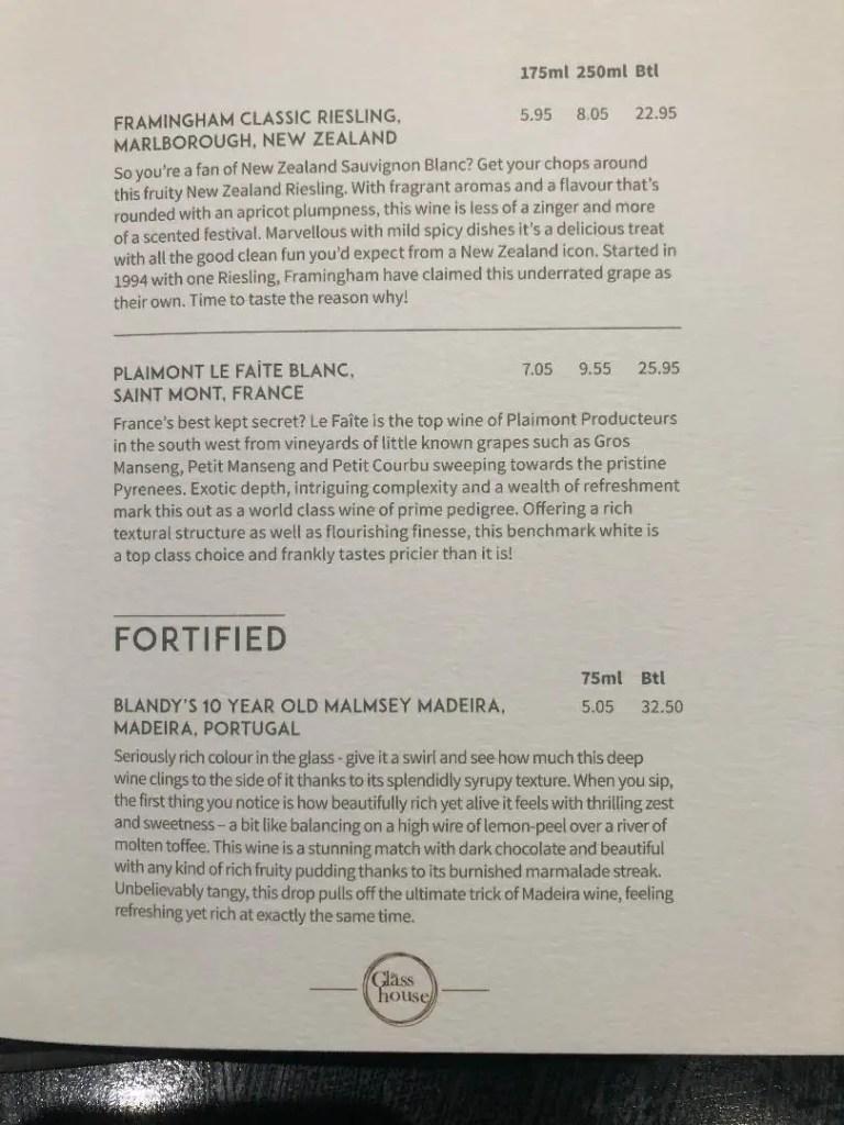 p&o britannia drinks menu glass house