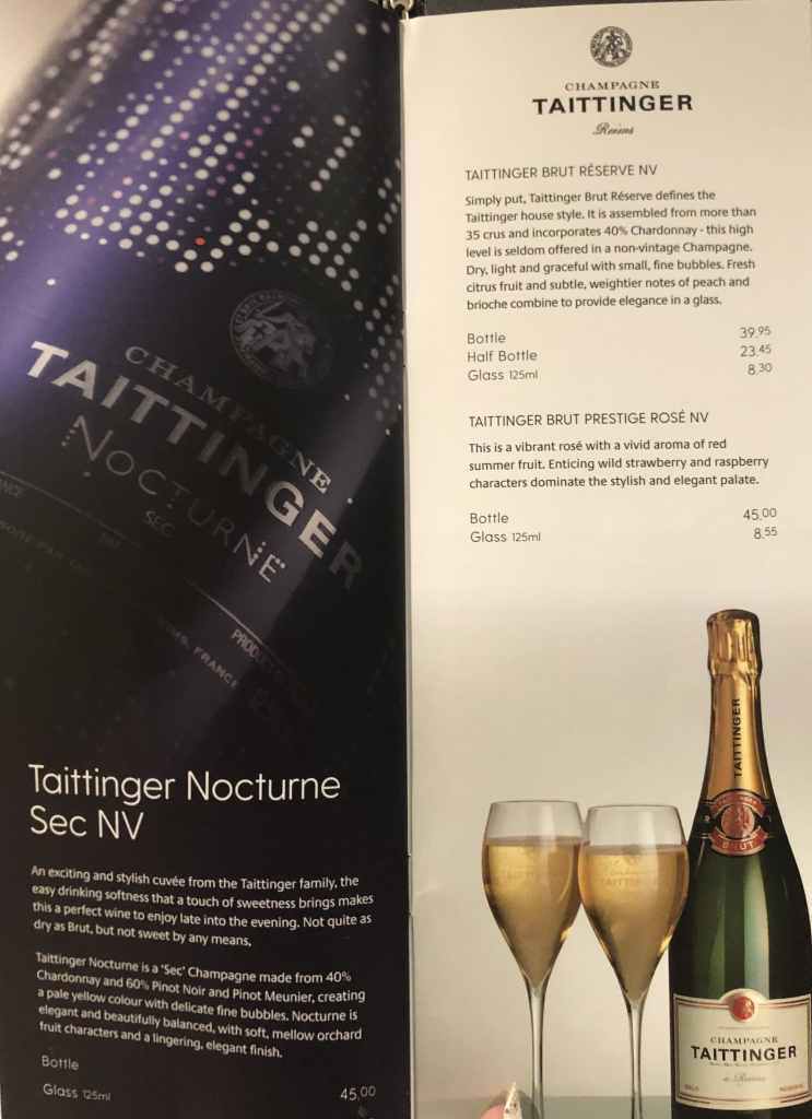 P&O champagne menu with prices