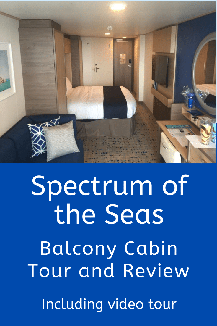 A video tour and review of a Spectrum of the Seas balcony cabin, including details of plug sockets, storage, room service and bathroom facilities