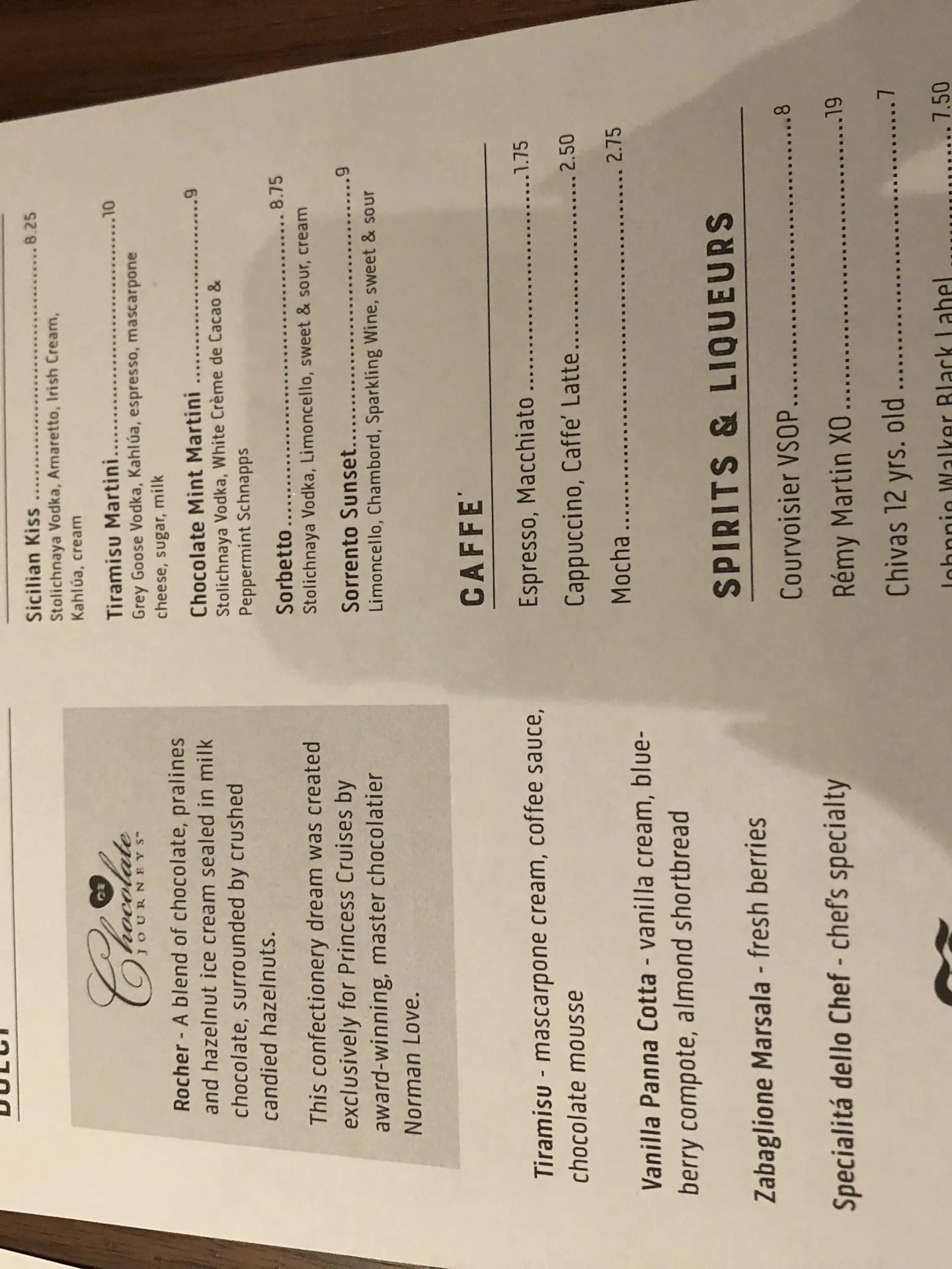 Sabatinis Trattoria menu