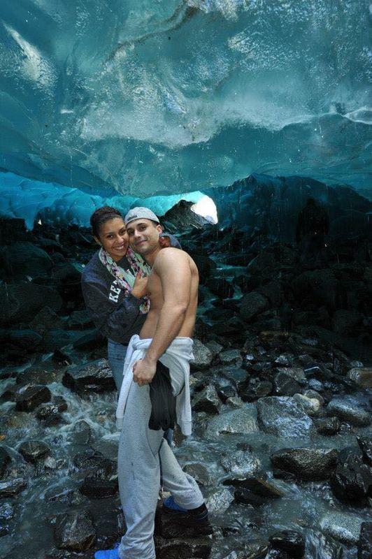 Ieashia & Zoran in ice cave in Juneau, Alaska