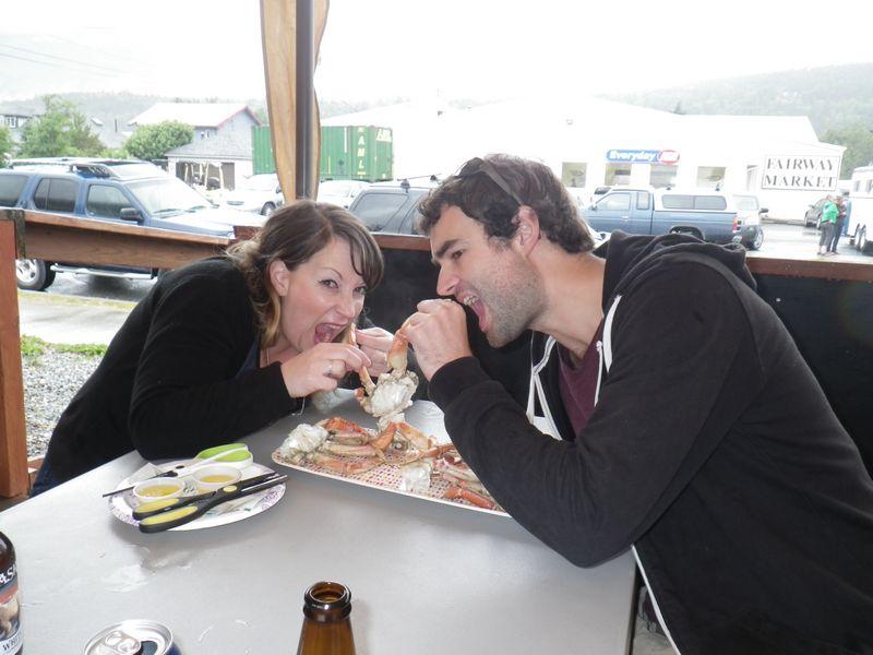 Nick & Karen eating crab together in Skagway