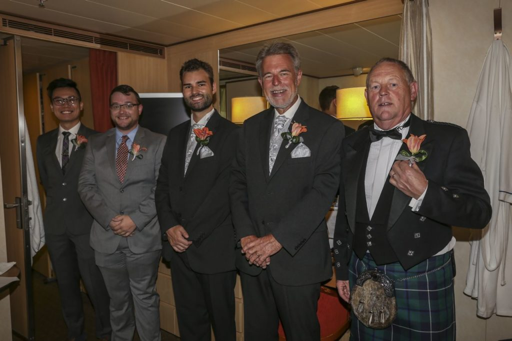 Nick, Phil, Evan and his Dads before the wedding