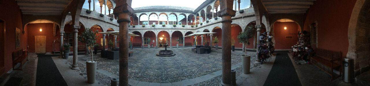 Panorama of hotel courtyard