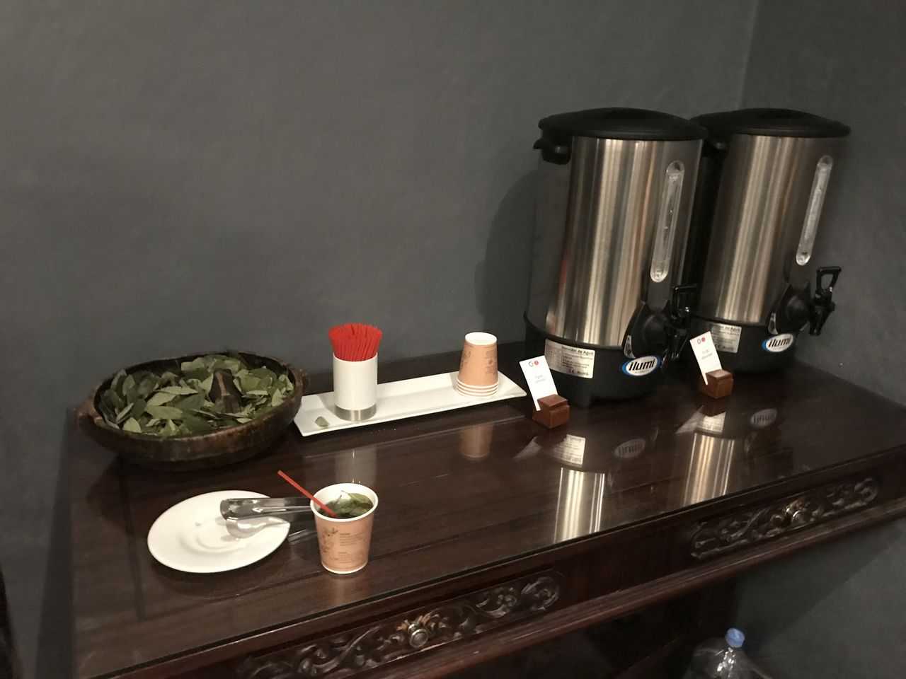 Welcome table with coca leaf tea in reception