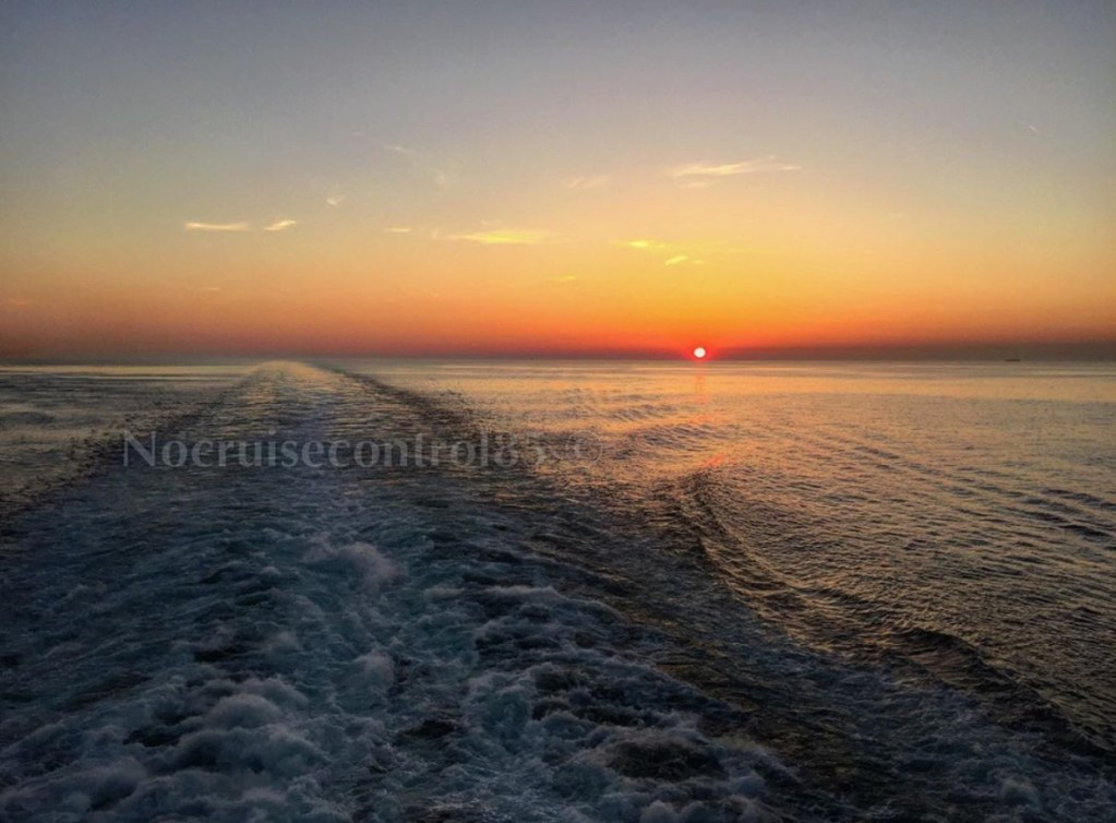 Sunset at sea on a cruise
