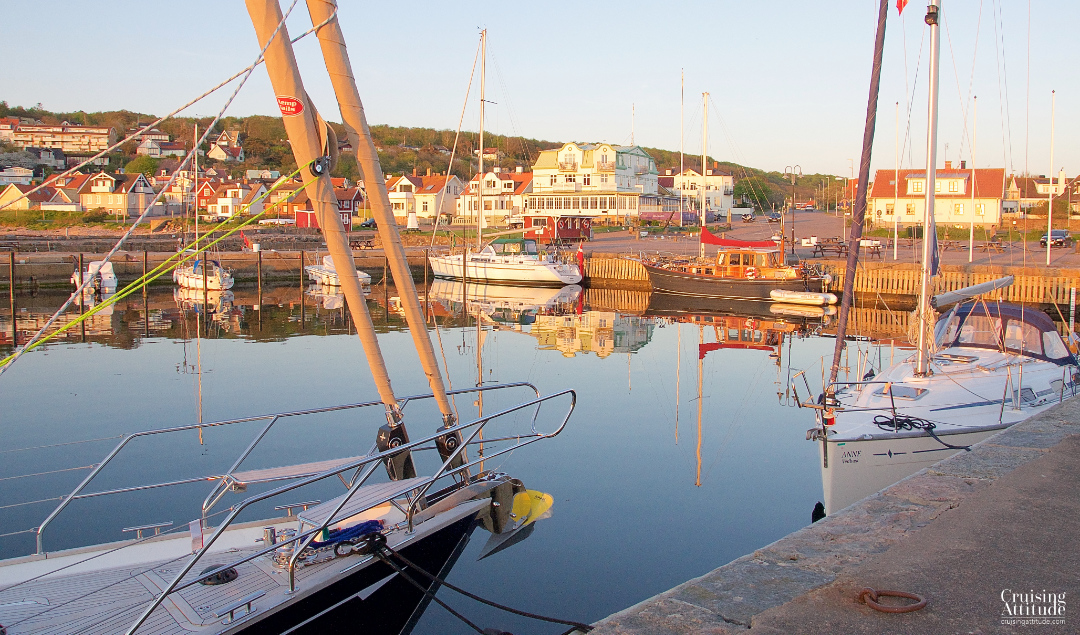 Sunset and golden light in Mölle Harbour. | Cruising Attitude Sailing Blog - Discovery 55