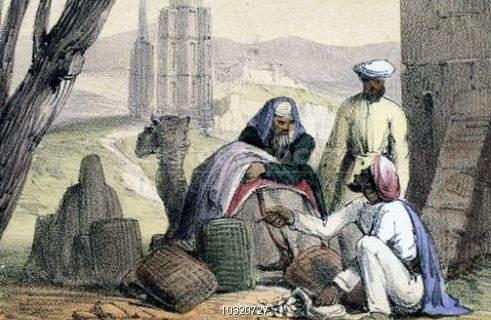 a-print-from-1845-shows-cowry-shells-being-used-as-money-by-an-arab-trader_l1