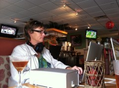 Amy working at her office in Mulligan's