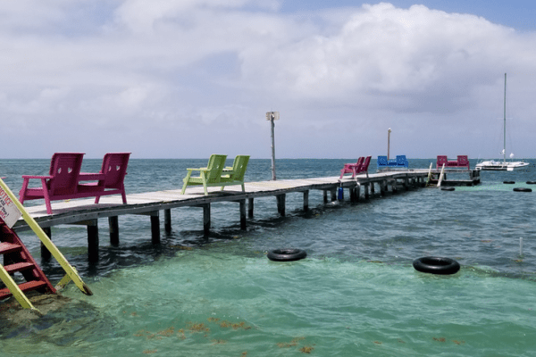 Waterfront scene at Caye Caulker