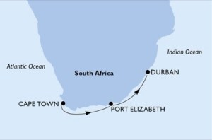 Cape Town to Port Elizabeth and Durban