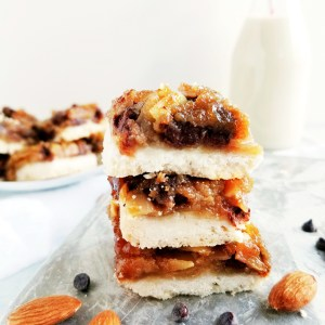 Vegan Chocolate Almond Butter Tart Squares stacked