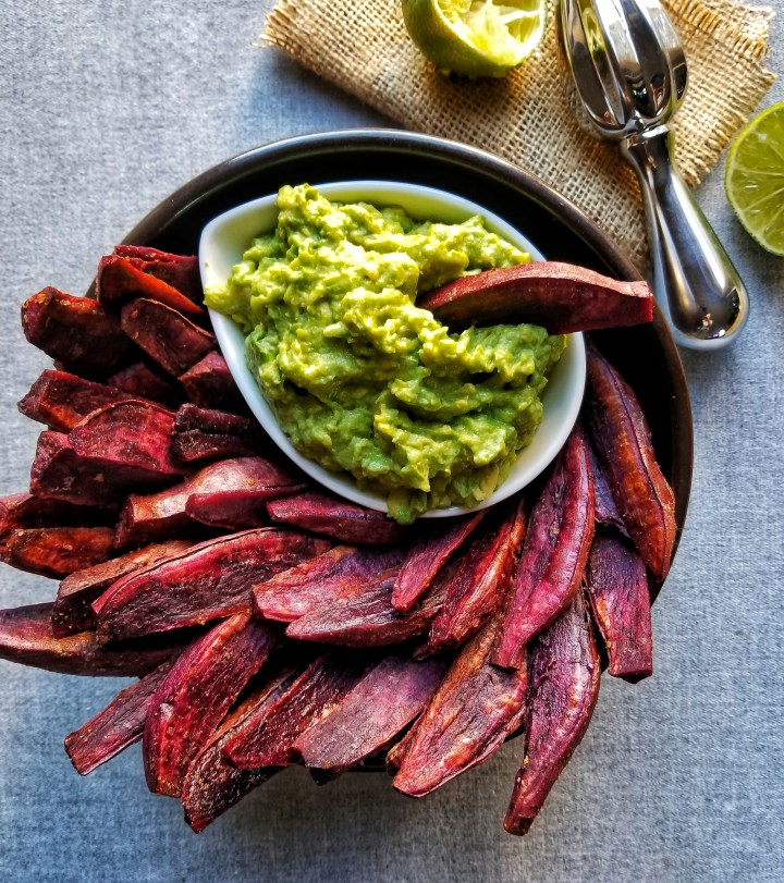 Crispy Sweet Potato Wedges with Guacamole