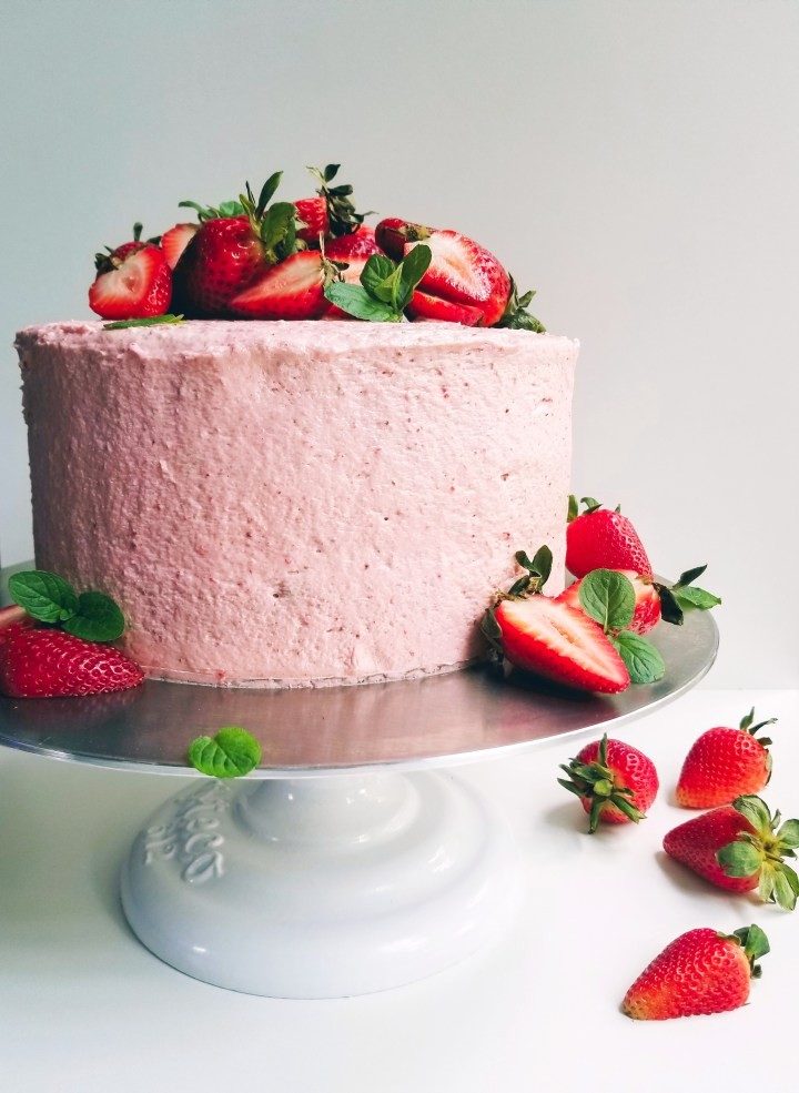 Vegan Strawberry Layer Cake with Strawberry Cream Cheese Frosting