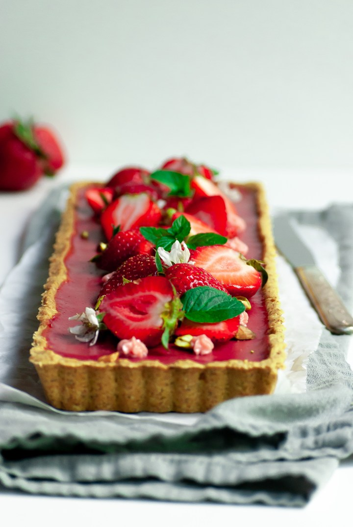 Strawberry Hibiscus Tart in a Pistachio Shortbread Crust