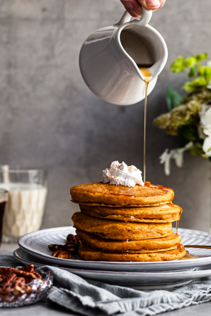 Vegan Spiced Pumpkin and Maple Pancakes