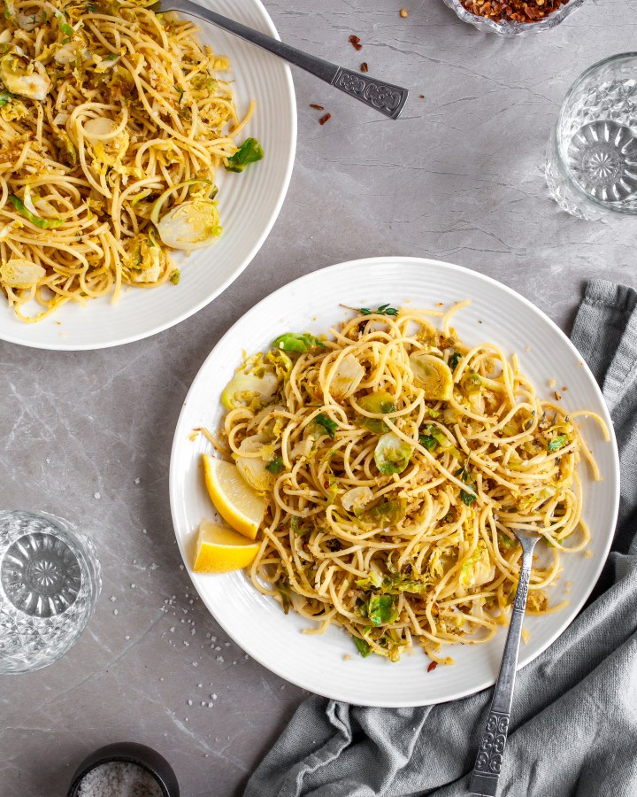 15 Minute Garlicky Breadcrumb Pasta with Shredded Brussels Sprouts