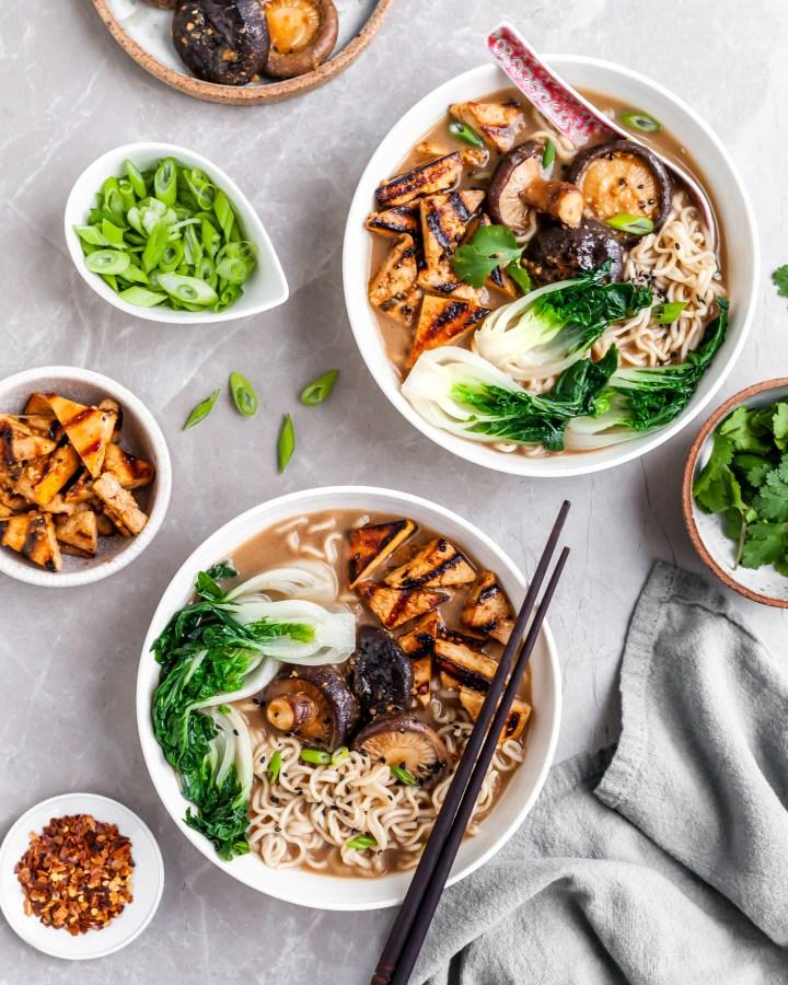 Vegan Mushroom Miso Ramen served with grilled tofu, shiitakes and bok choy