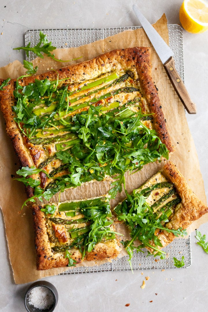 Asparagus and Pesto Cashew Cheese Tart with Lemon Arugula