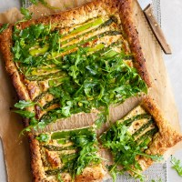 Asparagus and Pesto Cashew Cheese Tart with Lemon Arugula