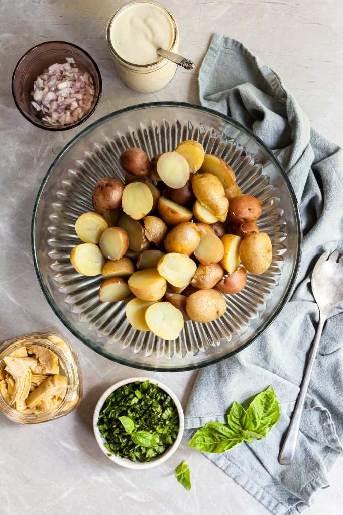 Ingredients for the Creamy Potato Salad set out in Bowls