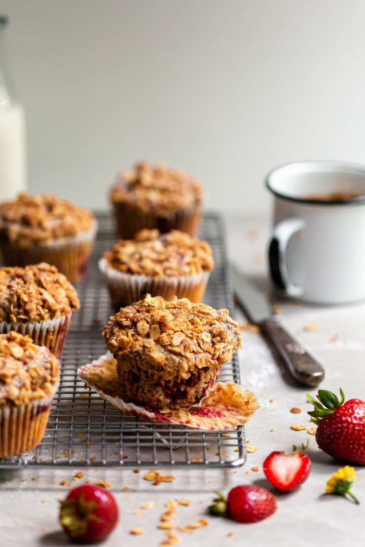 Vegan Roasted Strawberry & Oat Streusel Muffins