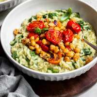Pesto Risotto, Roasted Tomatoes & Chickpeas - Vegan & Gluten-Free