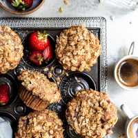 Vegan Roasted Strawberry Muffins with Oat Streusel