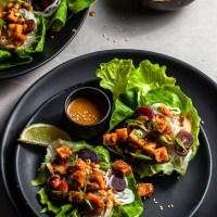 Peanut Tofu & Carrot Lettuce Wraps