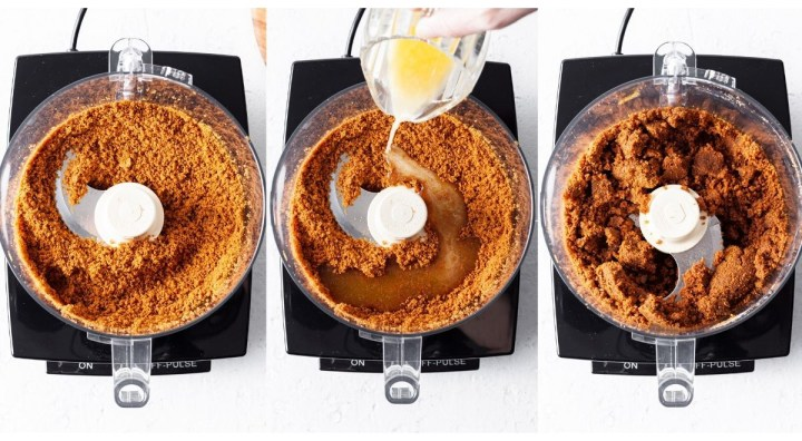 A series of 3 photos showing how the crumbs break down and then mix with other ingredients to create the cookie crumb crust in a food processor.