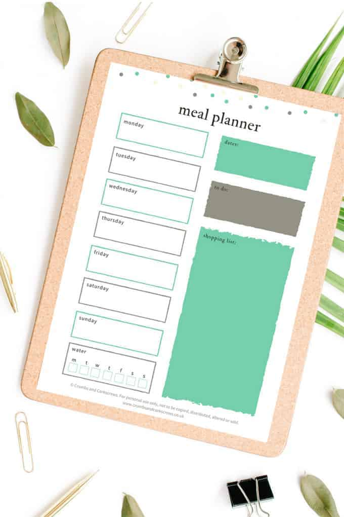Printed meal planner on clipboard