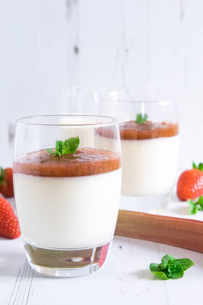 Rhubarb panna cotta - creamy vanilla bean topped with homemade rhubarb compote