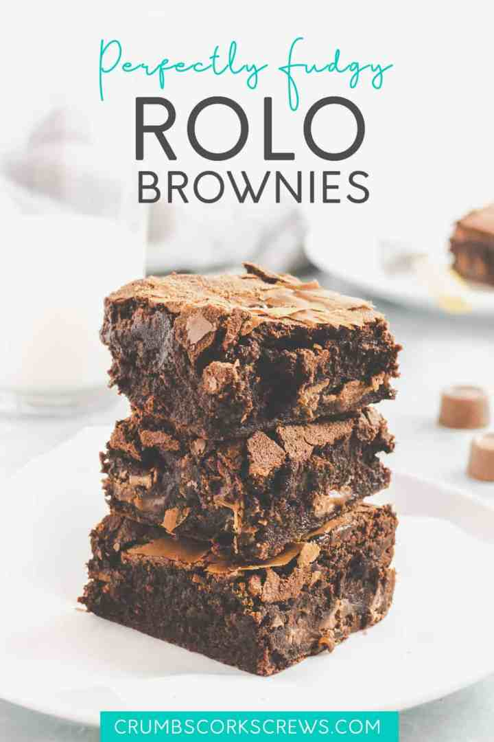 Stack of Rolo brownies - Pinterest Image