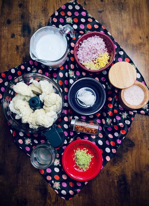 ingredients for coconut cauliflower rice