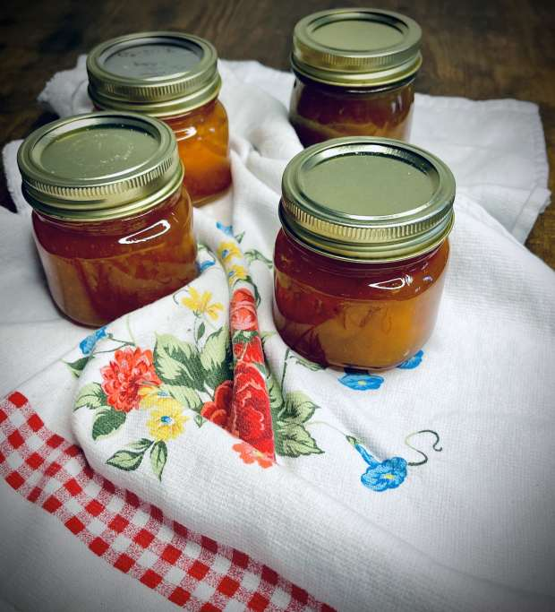 canned small-batch apricot jam