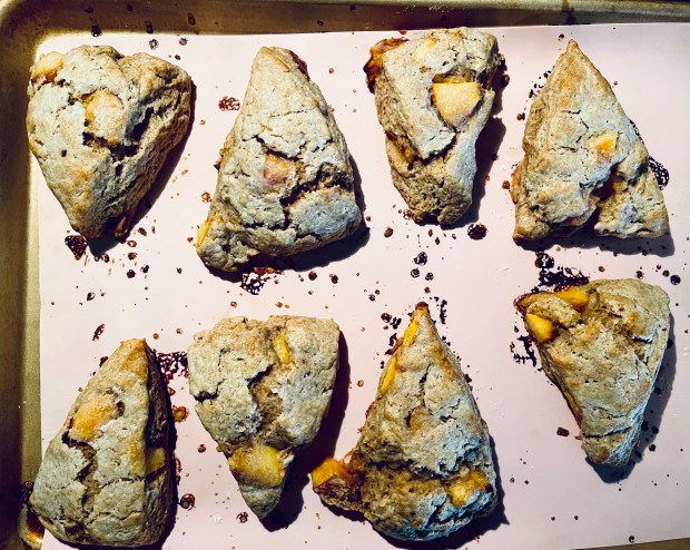 finished peach and ricotta spelt scones