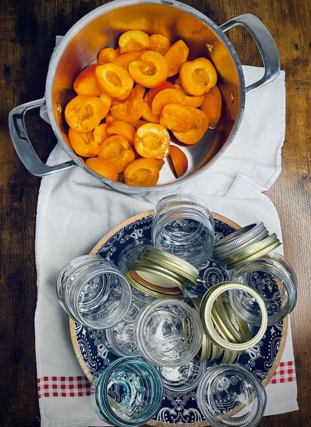 processed apricots and jam jars