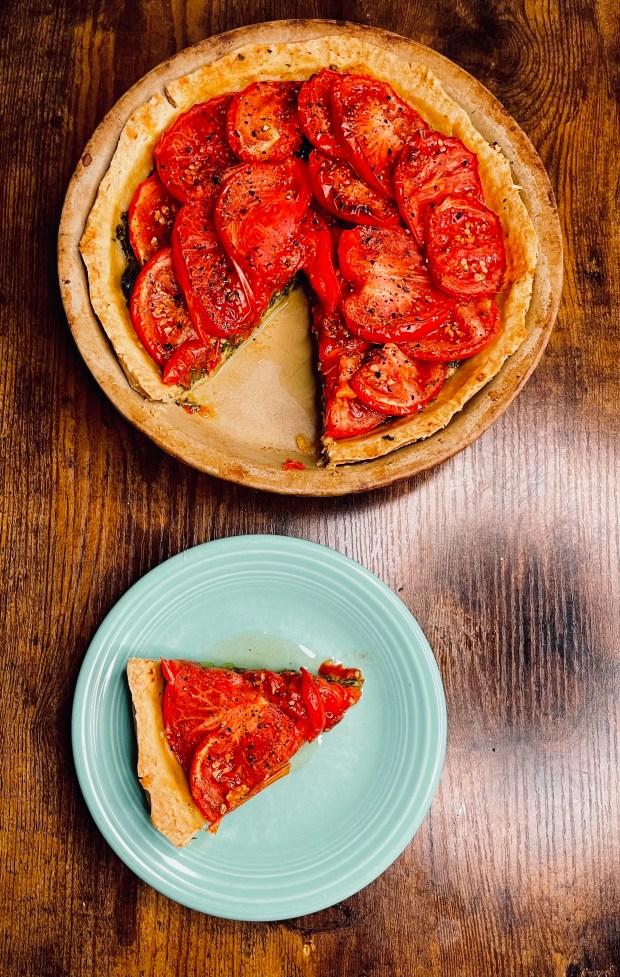 slice of tomato tart