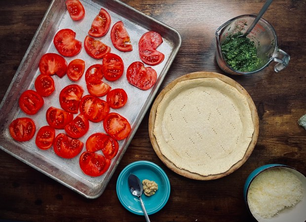 disassembled tomato tart