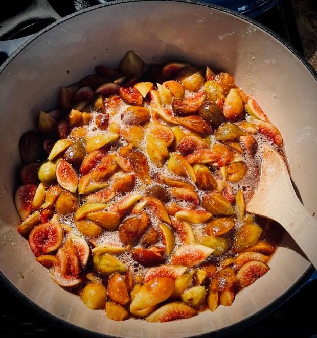 gently simmering fig jam