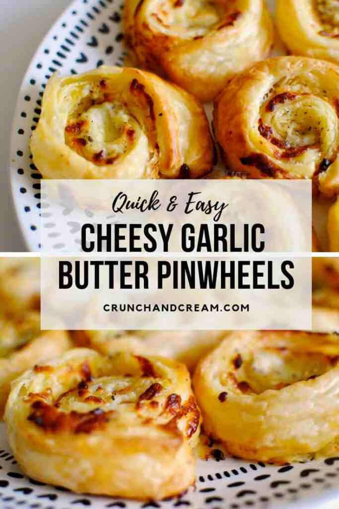 These quick and easy cheesy garlic butter pinwheels are just like garlic bread, only more delicious! They're packed full of melty mozzarella cheese, garlic butter and herbs, and the puff pastry makes them super quick and easy to make!