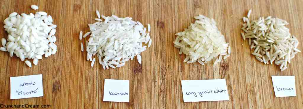 types of rice side-by-side to compare shapes of the grains