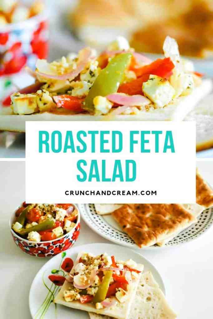 A roasted feta salad with herbs, chilli flakes and olive oil coating strips of bell peppers and cherry tomatoes. It's a delicious light and healthy vegetarian lunch or side dish - or a great starter for a bbq or other summer gathering! #warmsaladrecipelunches #warmsaladrecipe #quickeasysaladrecipe #easysaladrecipelunches