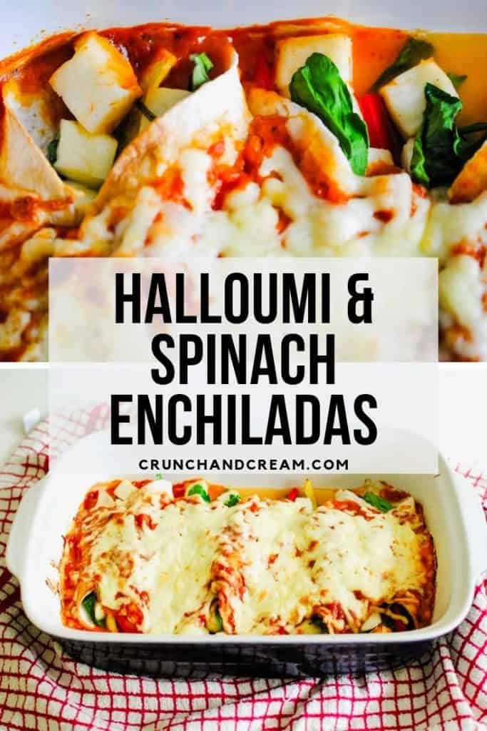 These 30-minute halloumi and spinach enchiladas are a perfect veggie-friendly weeknight dinner - only 6-ingredients required! Plus you can customise the filling with all your favourite veggies! #easyspinachenchiladas #vegetarianspinachenchiladas #easyvegetarianenchiladas