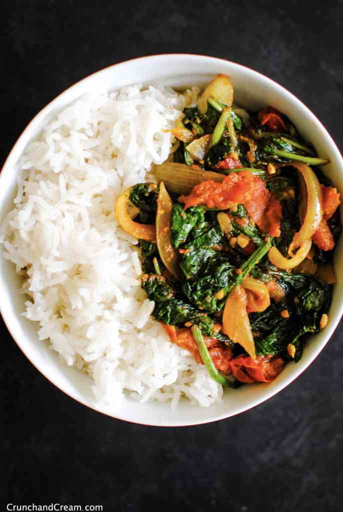 overhead of a bowl of basmati rice and simple vegan masala curry