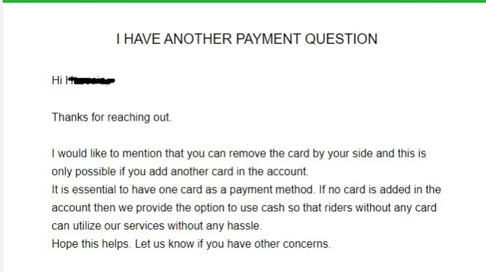 Uber Credit Card Payment Method Issue