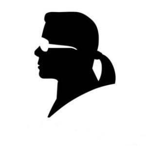 profil en noir et blanc de Karl Lagerfeld.